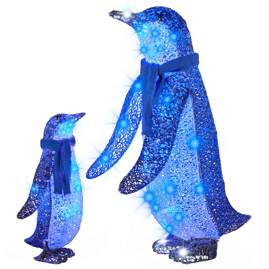 gemmy pre lit penguin sculpture with multi function blue led lights - Penguin Outdoor Christmas Decorations