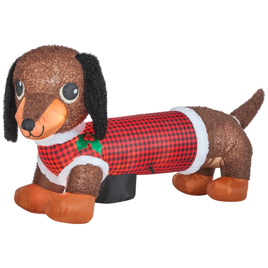 Holiday Living 3.83-ft x 2.46-ft Animatronic Lighted Dog Christmas Inflatable