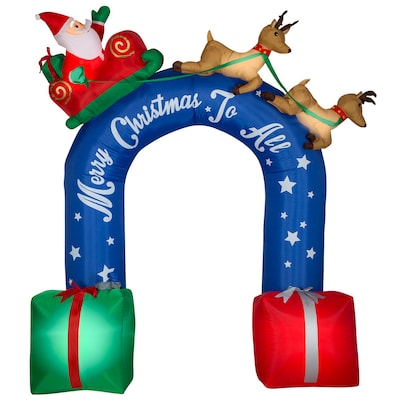Christmas Inflatable.Gemmy 8 98 Ft Lighted Archway Christmas Inflatable At Lowes Com
