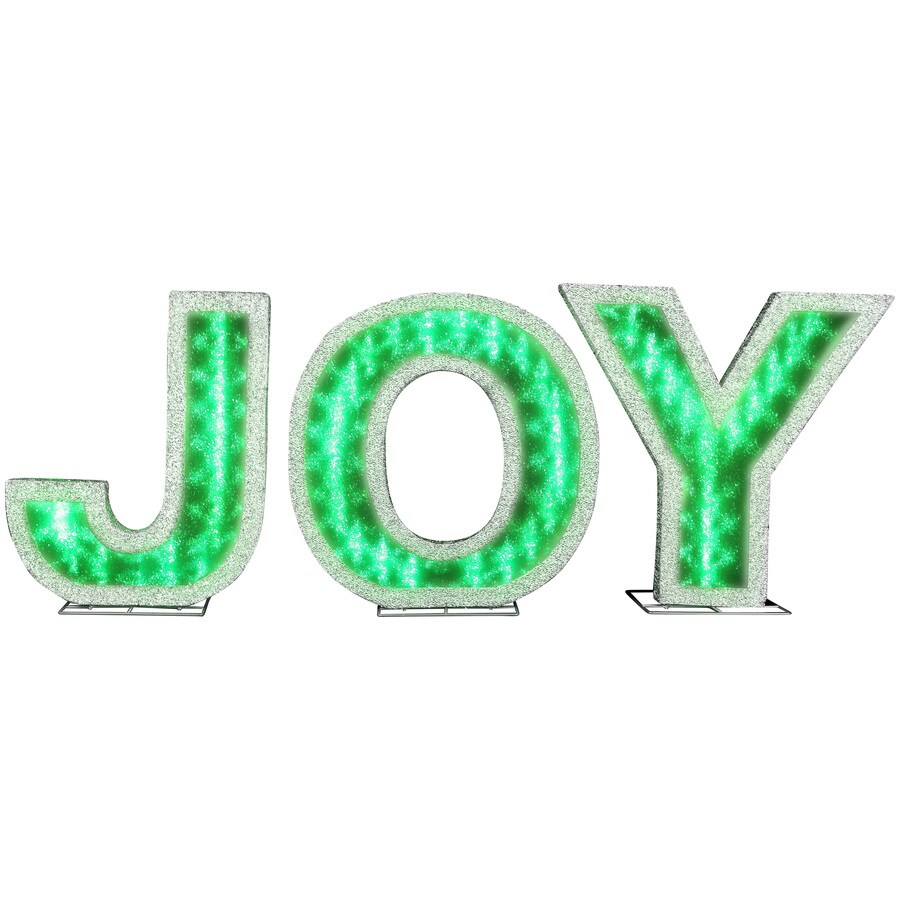 Shop Holiday Living Pre-Lit Joy Sculpture with Multi-Function ...