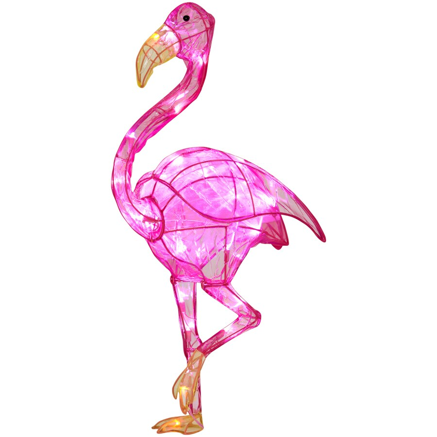 Shop Pre-Lit Flamingo Sculpture with Constant White Lights at Lowes.com