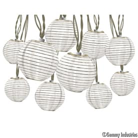 Gemmy 8 5 Ft 10 Light White Fabric Shade Plug In Globe String