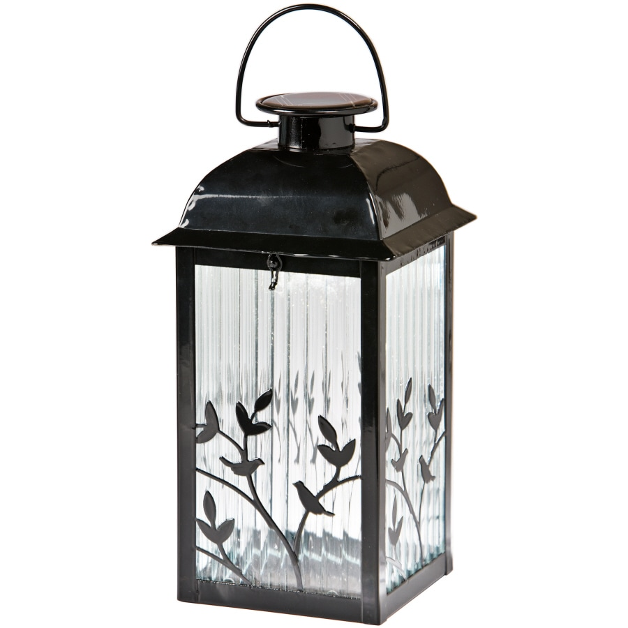 Gemmy 5.3 In X 12.2 In Black Glass Solar Outdoor Decorative Lantern