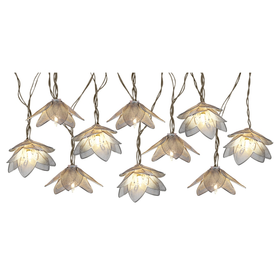 Shop 8.5-ft 10-Light White Metal-Shade Plug-In Flowers String Lights at Lowes.com