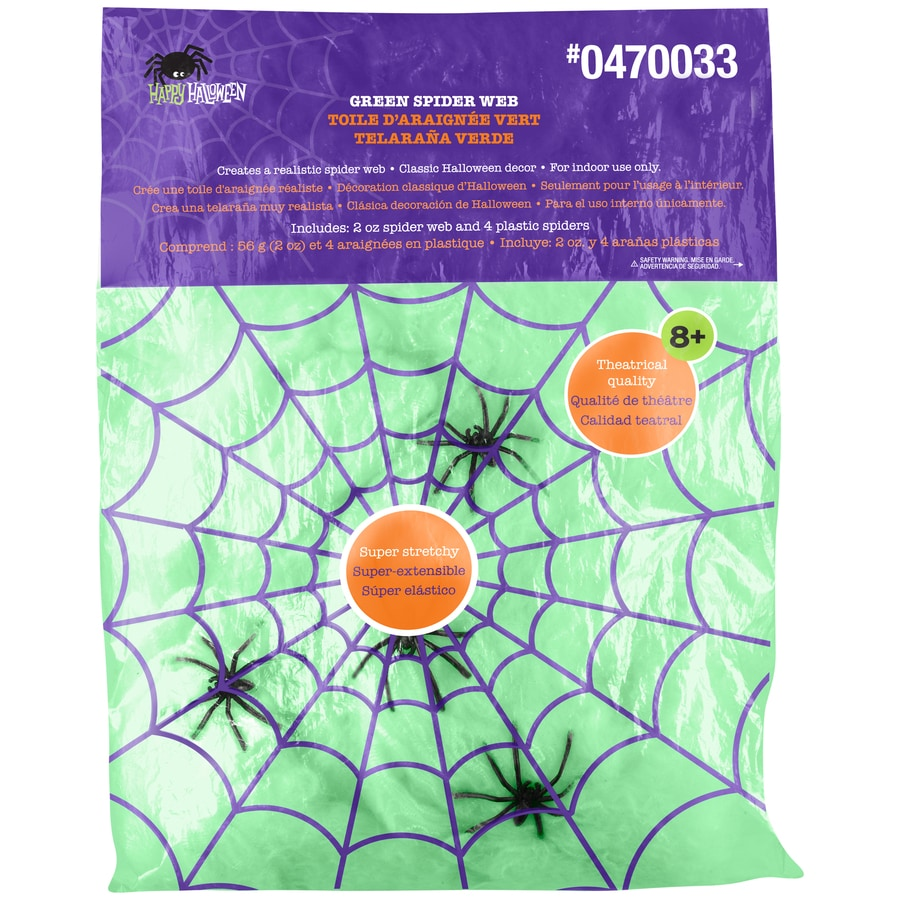 Gemmy 0.5-in Hanging Fiber Green Spider Webs Indoor Halloween Decoration