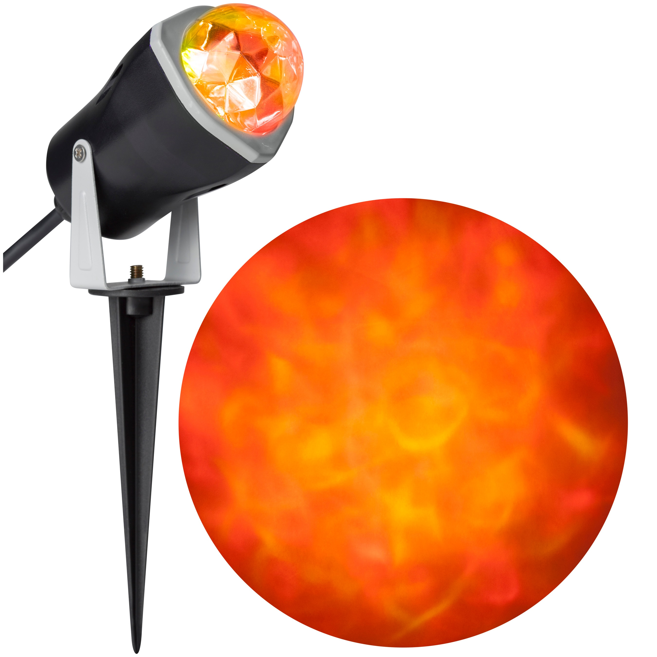 Gemmy Fire and Ice LightShow Multi-Function Red, Yellow LED Kaleidoscope Halloween Indoor/Outdoor Spotlight Projector