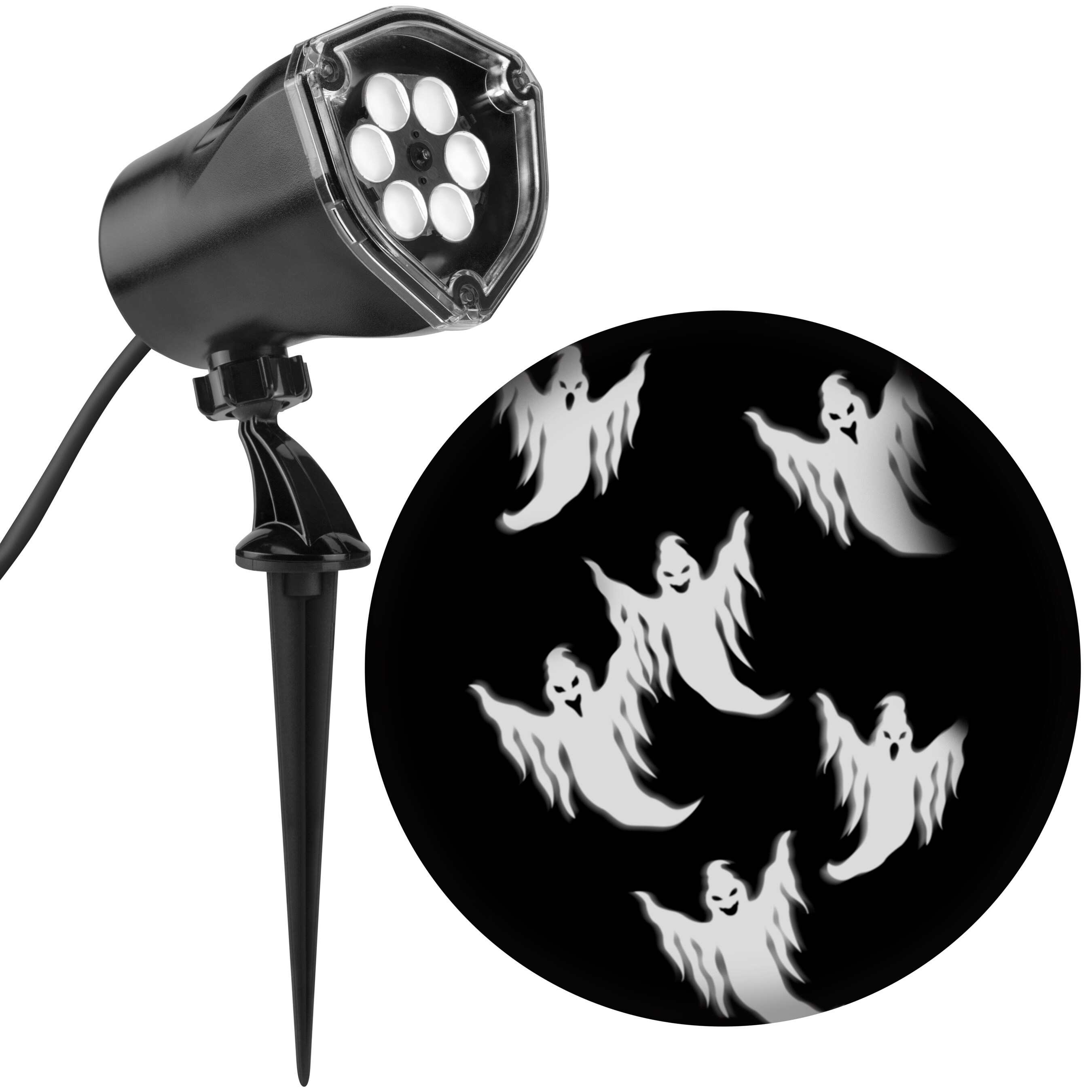 Gemmy Whirl-A-Motion Multi-Function White Led Ghosts Halloween Outdoor Stake Light Projector