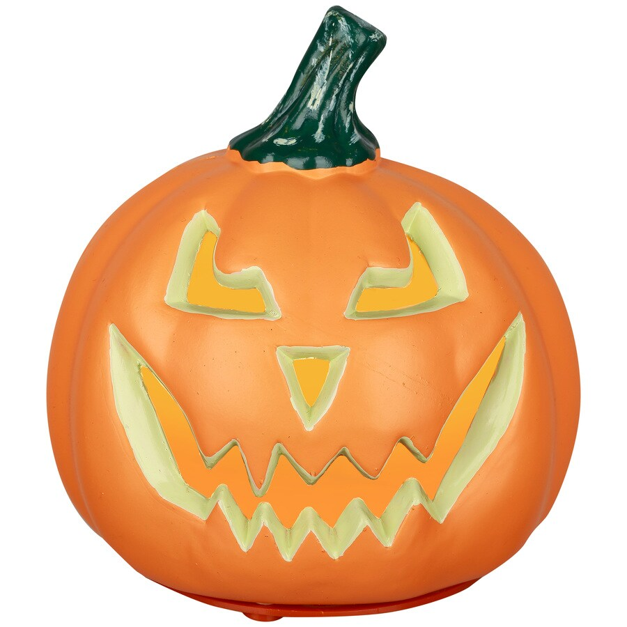 Holiday Living Pre-Lit Resin Freestanding Jack-O-Lantern Sculpture with Constant White Incandescent Lights