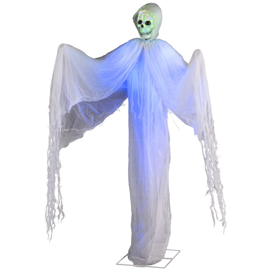 Holiday Living Animatronic Pre-Lit Freestanding Ghost Statue with Multi-Function Color Changing LED Lights