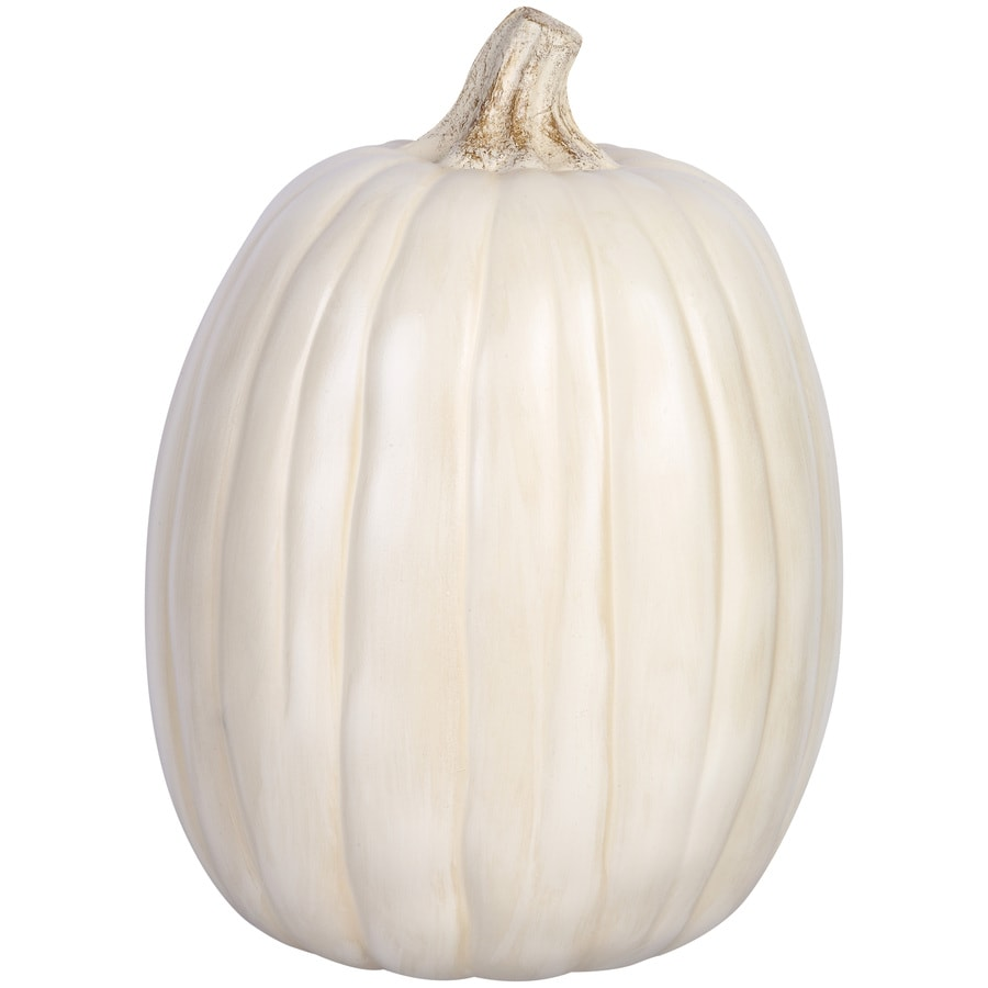 HARVEST 12.795-in H Painted Cream Polyurethene Craft Pumpkin