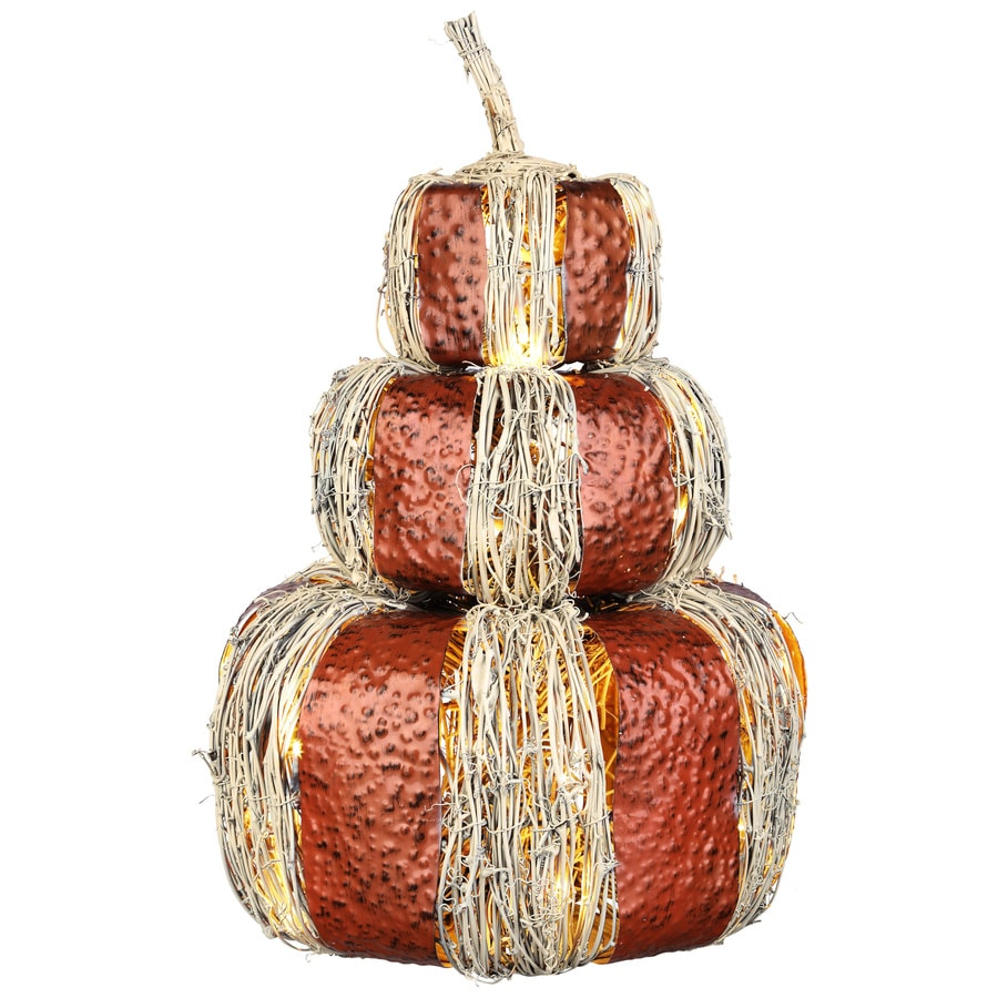 HARVEST Pre-Lit Freestanding Pumpkin Stack Sculpture with White LED Lights