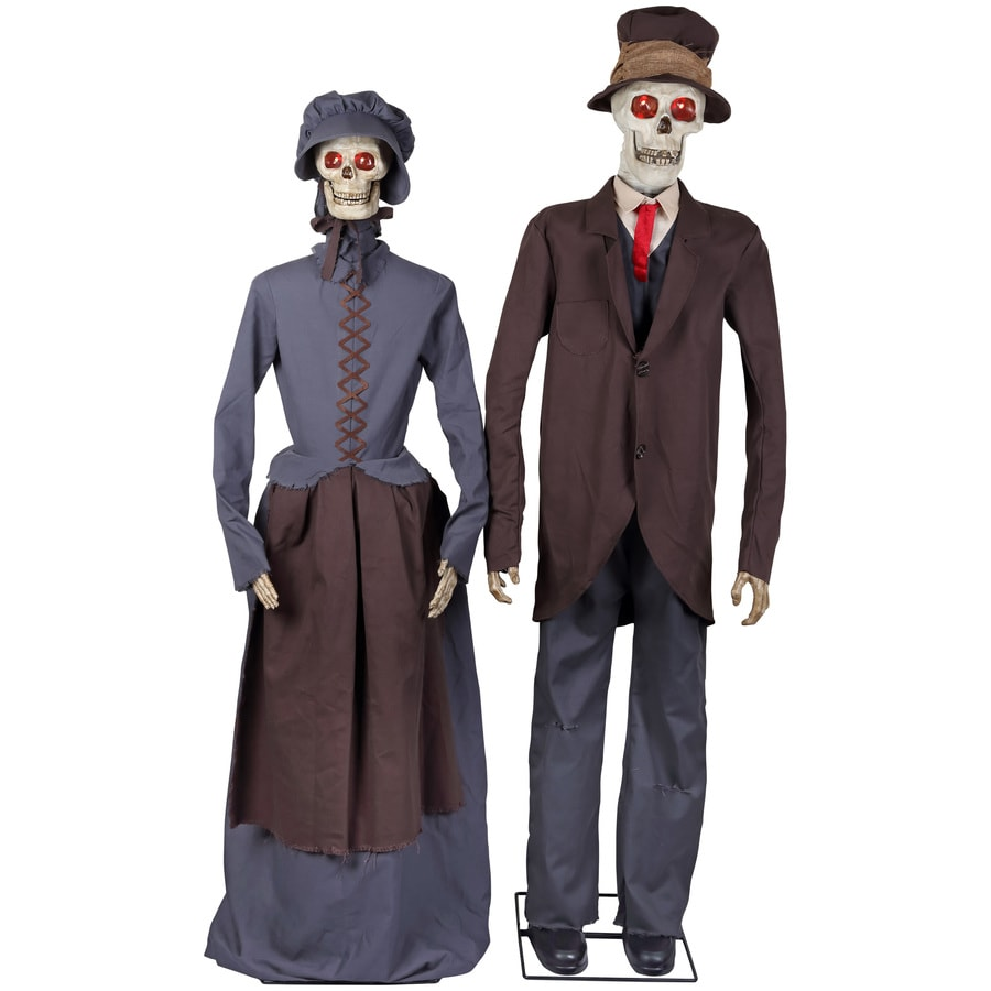 holiday living animatronic pre lit musical skeleton couple lifesize greeter with flashing red led lights - Lowes Halloween