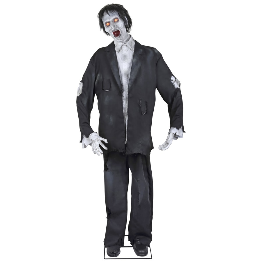 Holiday Living Animatronic Pre-Lit Musical Zombie Lifesize Greeter with Constant Red LED Lights