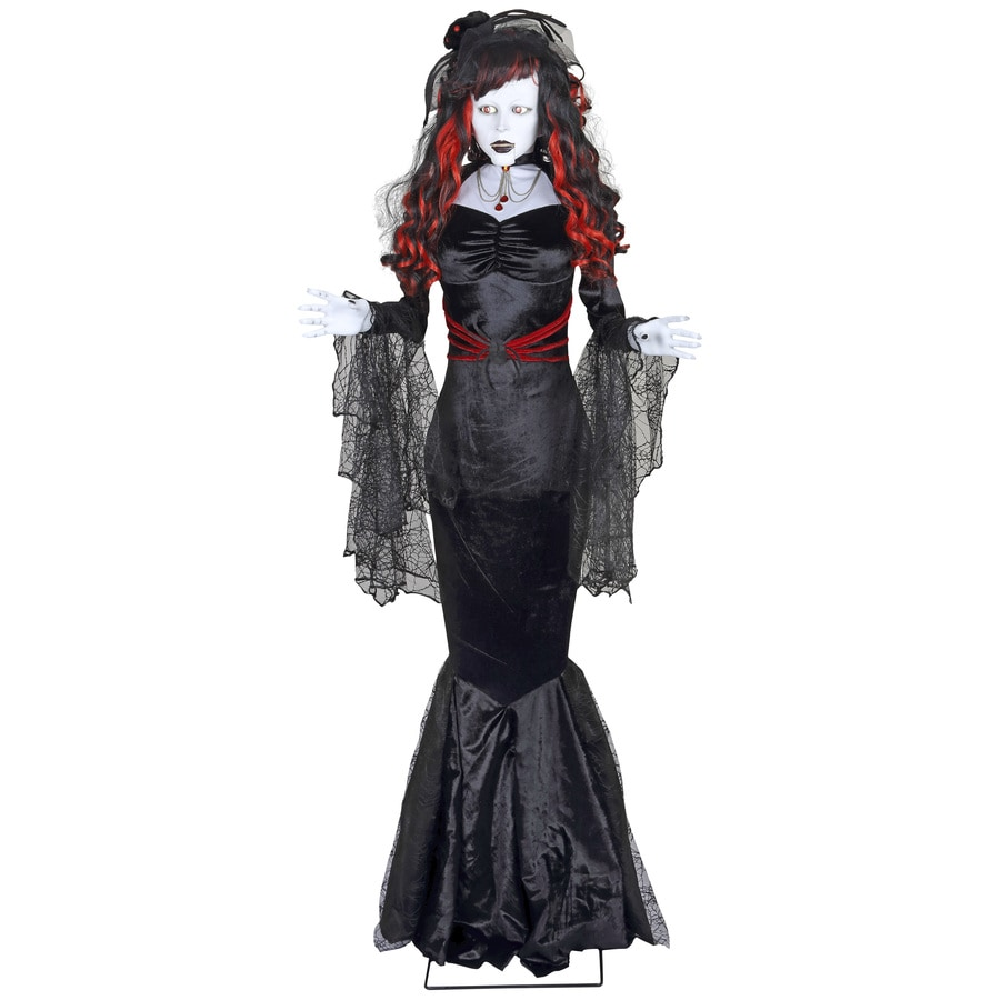Holiday Living Animatronic Pre-Lit Musical Black Widow Lifesize Greeter with Constant White LED Lights