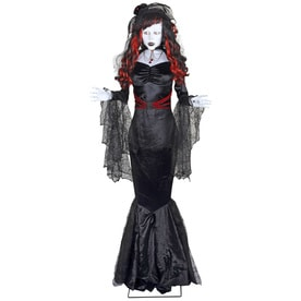 holiday living animatronic pre lit musical black widow lifesize greeter with constant white led lights