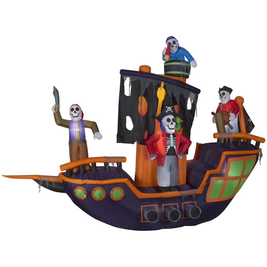 Holiday Living 9.12-ft x 11.5-ft Animatronic Lighted Pirate Ship Halloween Inflatable
