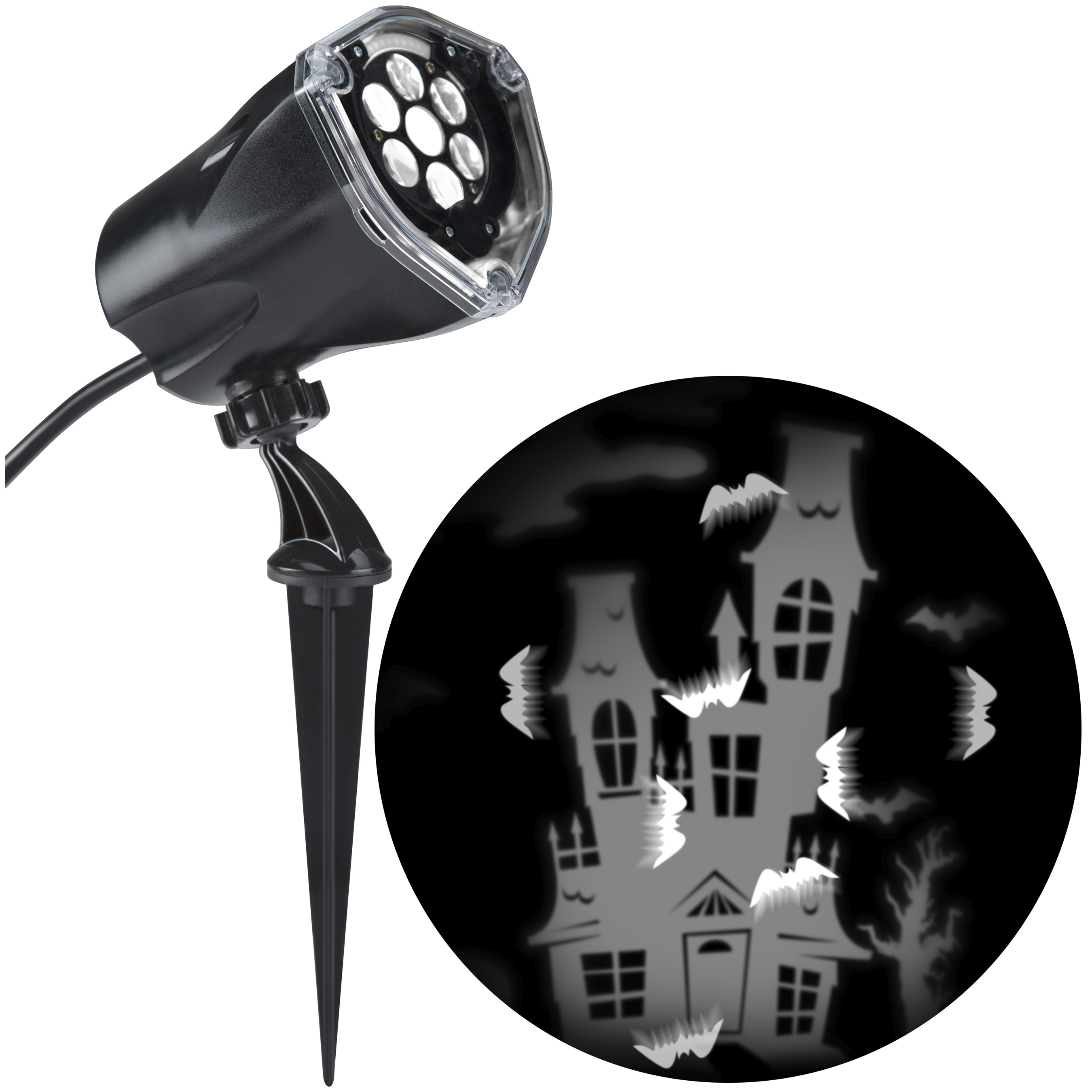 Gemmy Whirl-A-Motion Multi-Function White Led Multi-Design Halloween Outdoor Stake Light Projector