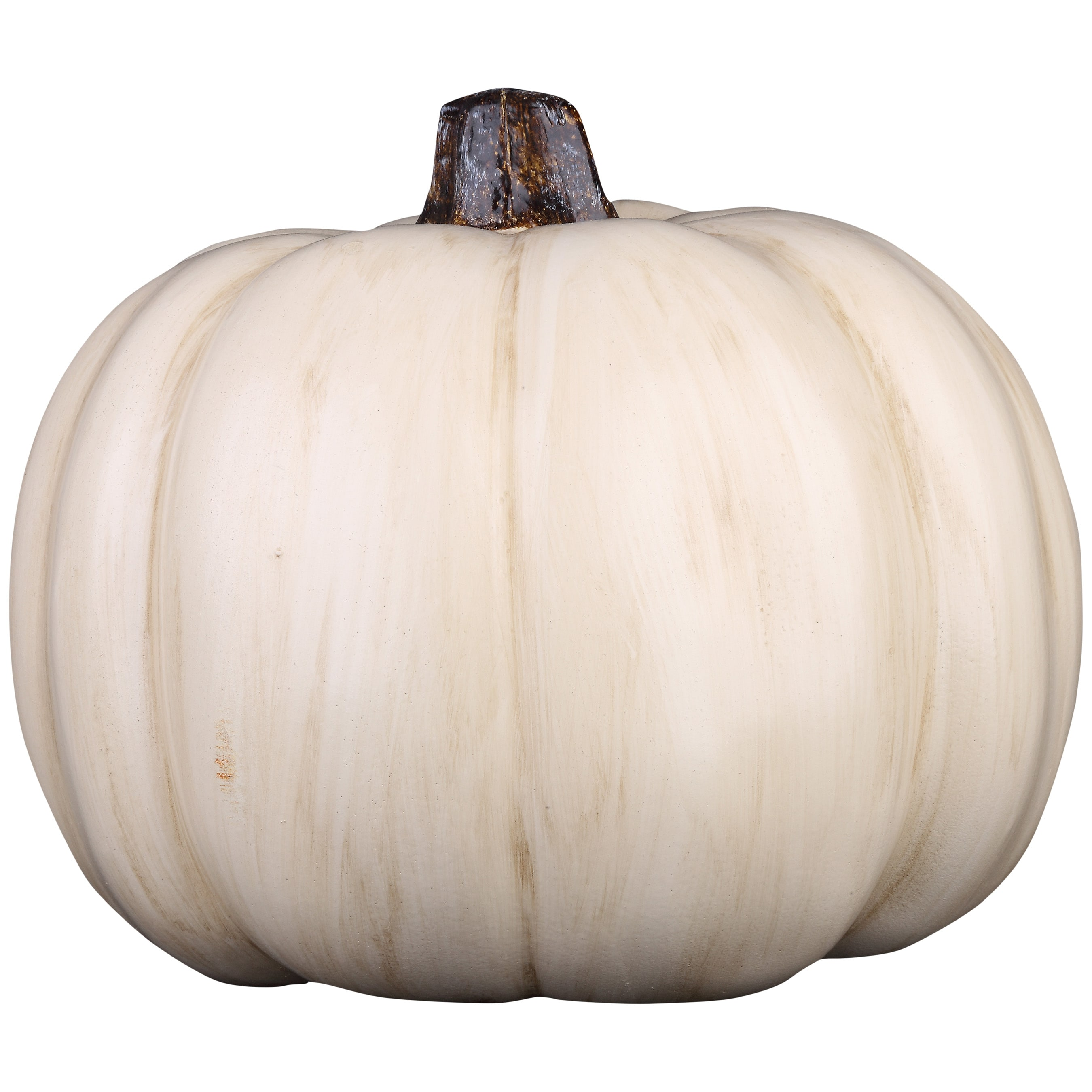 Holiday Living 7.28-in -in H Painted Cream Polyurethane Craft Pumpkin
