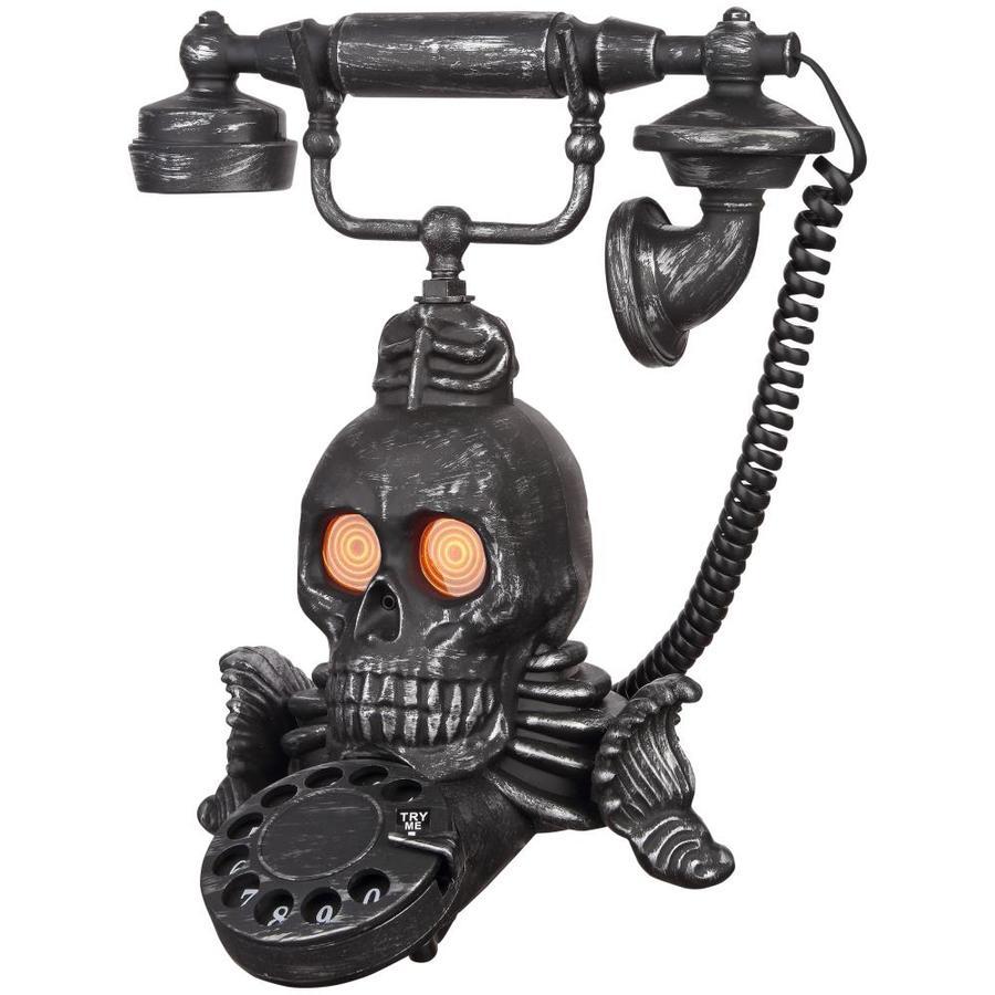 Holiday Living Animatronic Pre-Lit Skull Telephone Skull with Flashing Orange LED Lights