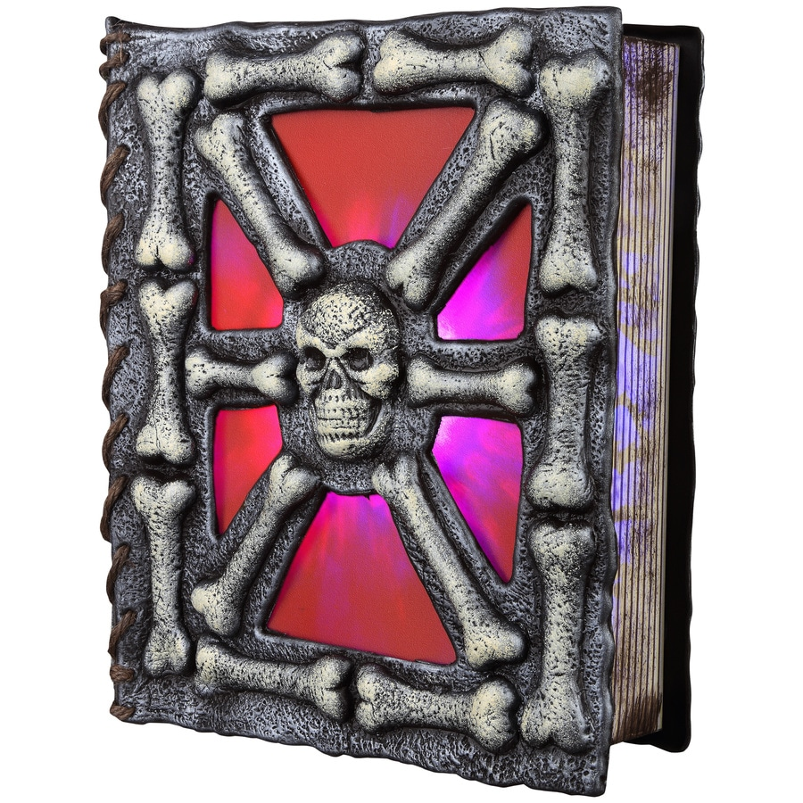 Holiday Living Pre-Lit Musical Spellbook Skull with Flickering Color Changing LED Lights