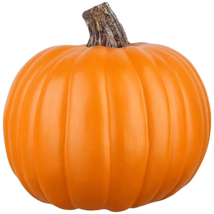Holiday Living 8.26-in -in H Painted Orange Polyurethane Craft Pumpkin