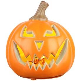 Holiday Living Pumpkin Pre-Lit Jack-o-lantern with Constant Orange LED Lights (5.5-in)