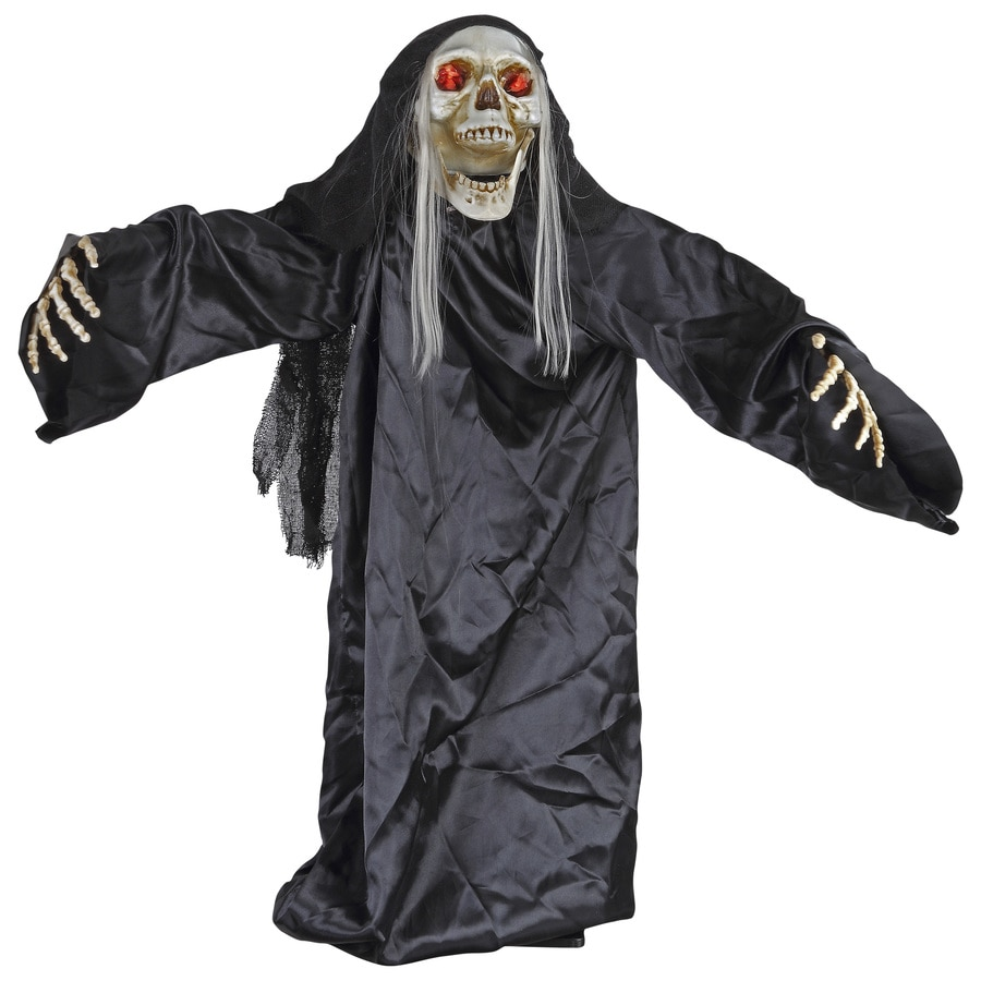 Holiday Living Animatronic Pre-Lit Musical Reaper Lifesize Greeter with Constant Red LED Lights