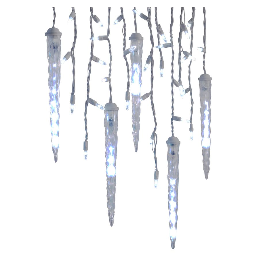 gemmy 87 count white led christmas icicle lights
