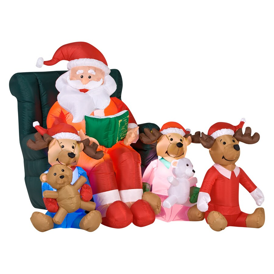 Shop Gemmy 5 Ft Inflatable Santa Reading Bedtime Story At