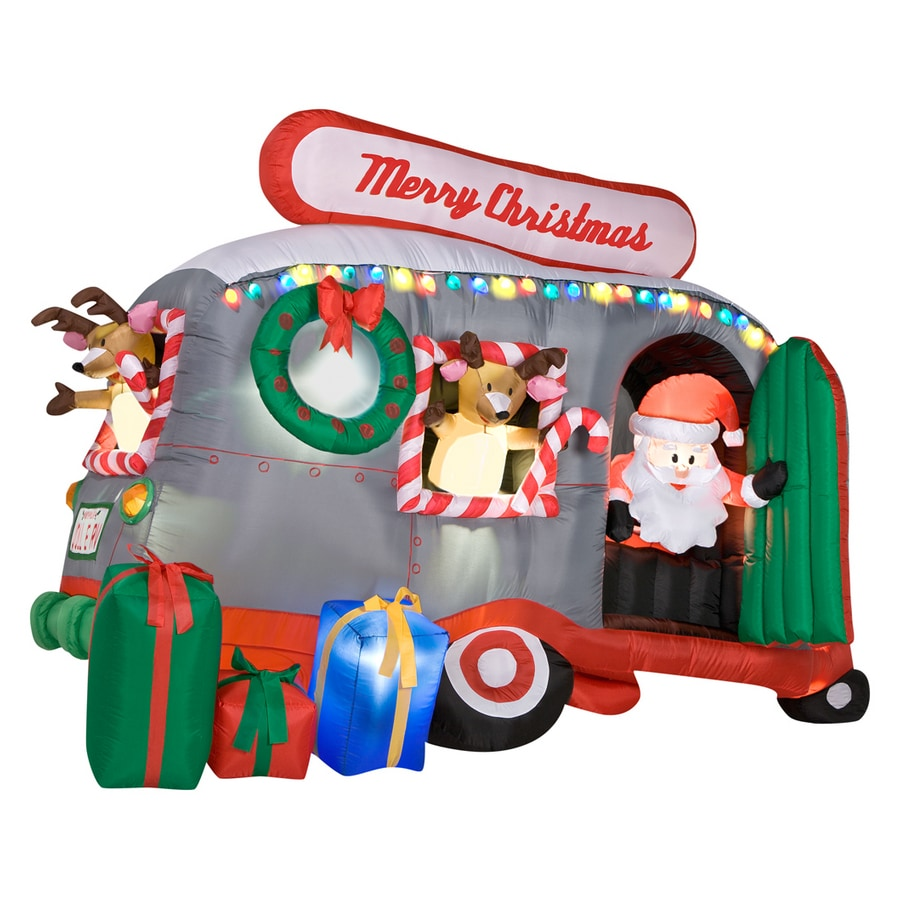 Shop gemmy 6 ft inflatable santa in rv at for Airstream christmas decoration