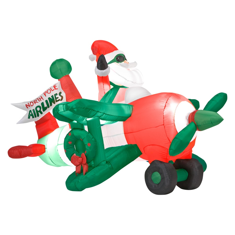 shop gemmy 4 ft inflatable santa in airplane at lowes com