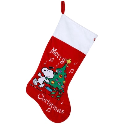 Snoopy Christmas Images.20 8 In Red Polyester Snoopy Christmas Stocking