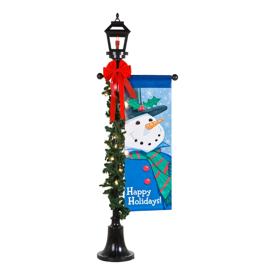 Outdoor Christmas Decorations Clipart: Shop Holiday Living 6-Ft. Black Lamp Post With Snowman