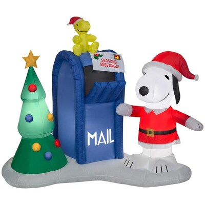 Christmas Inflatables.Airblown Snoopy And Woodstock With Mailbox 7 Foot Christmas Inflatable