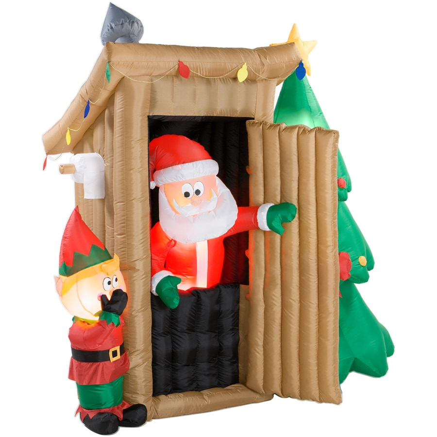 Shop gemmy 6 1 2 39 inflatable santa in outhouse at for Inflatable christmas decorations