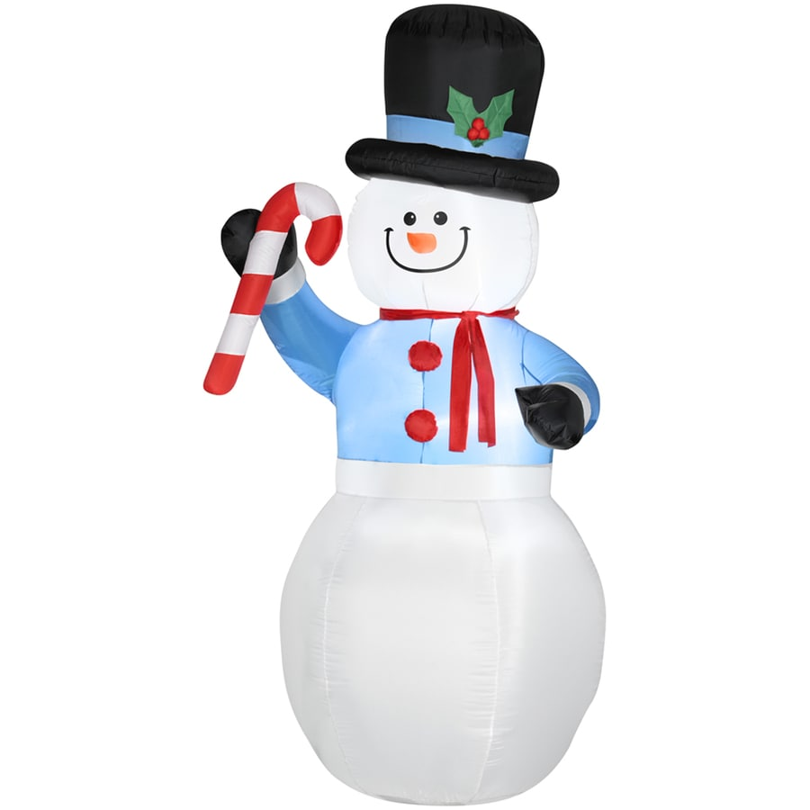 Holiday Living 6.98-ft Christmas Inflatable Fabric Snowman with Candy Cane