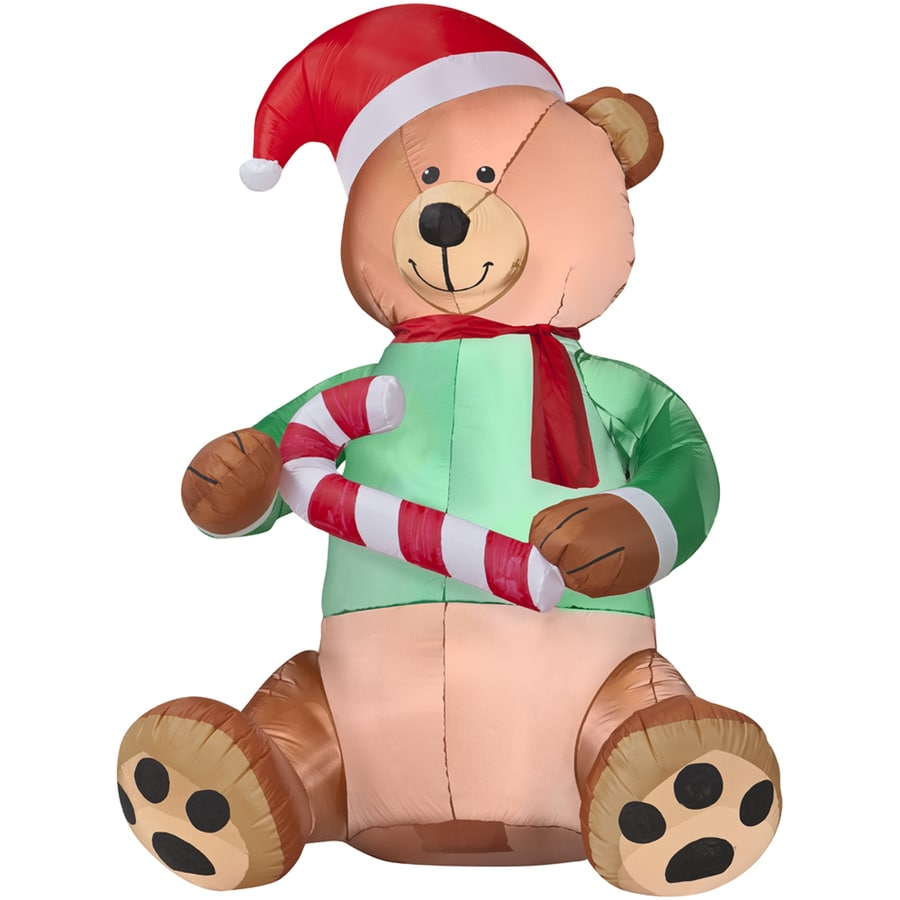 Holiday Living 5.51-ft Christmas Inflatable Fabric Teddy Bear with Candy Cane