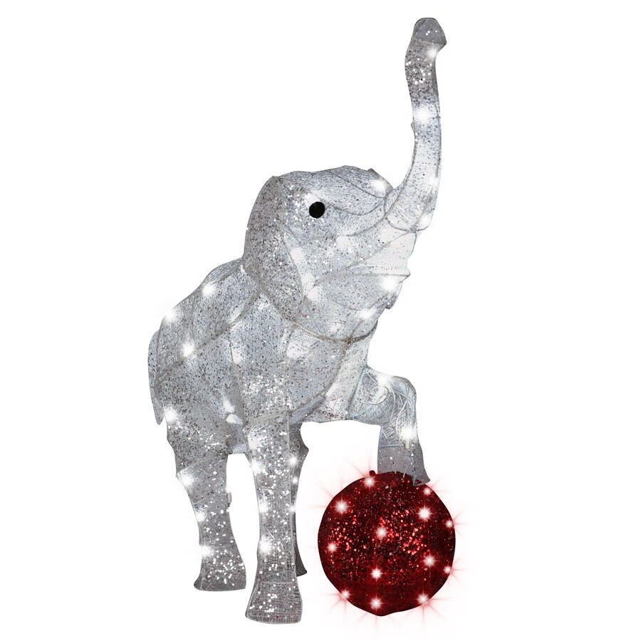 Gemmy Pre-Lit Elephant Sculpture with Constant Red Lights