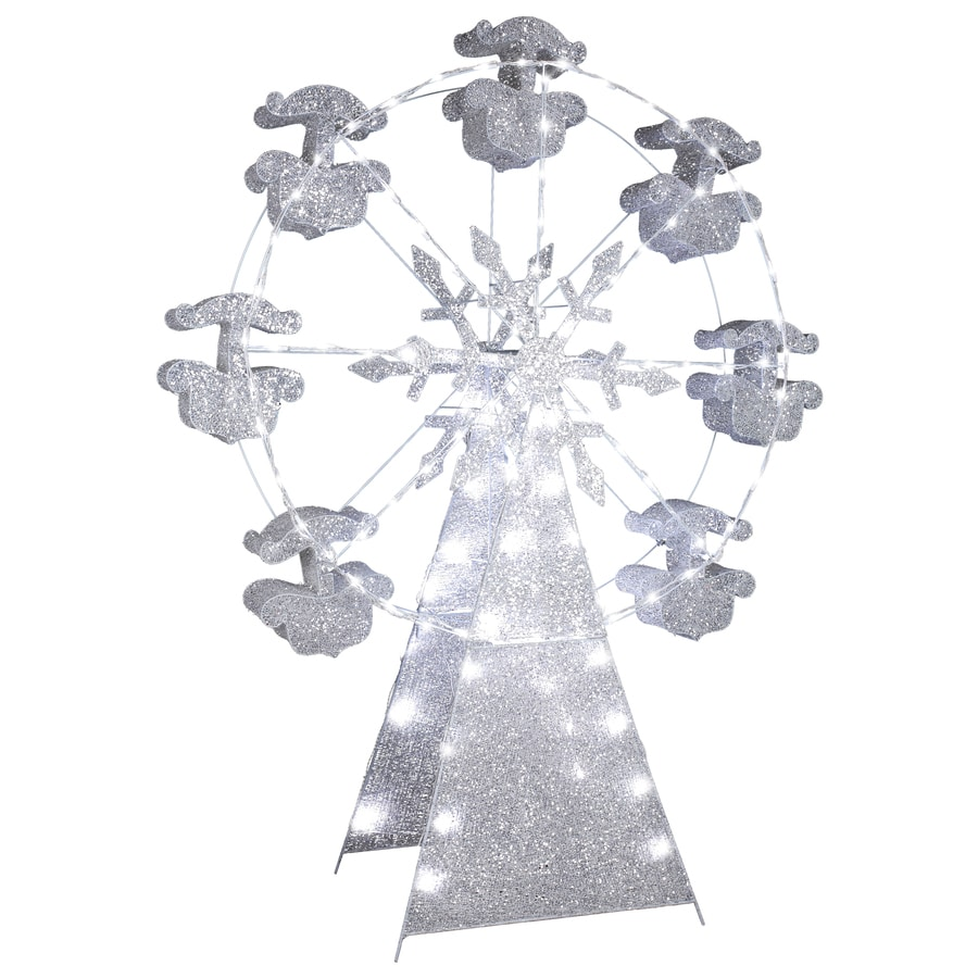 Gemmy Pre-Lit Ferris Wheel Sculpture with Multi-Function White Lights
