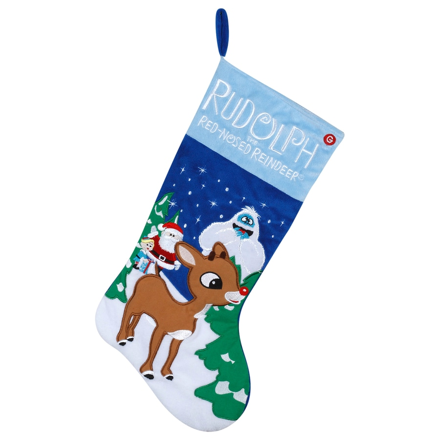 Gemmy 20.8-in Blue Polyester Rudolph Christmas Stocking