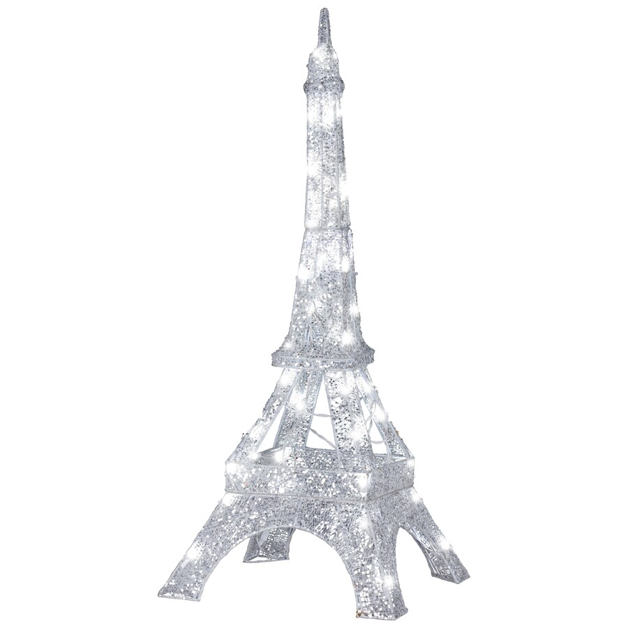 Gemmy Pre-Lit Eiffel Tower Sculpture with Constant White Lights