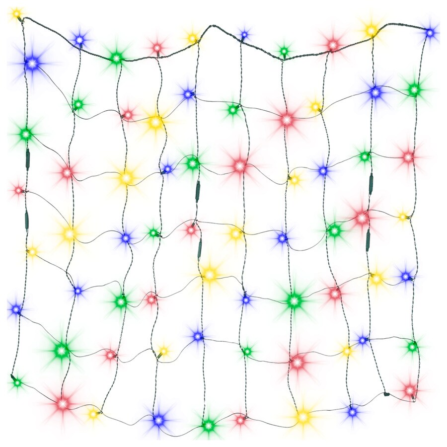 Gemmy LightShow 4-ft x 4-ft Indoor/Outdoor Sparkling Multicolor LED Mini Plug-In Christmas Net Light