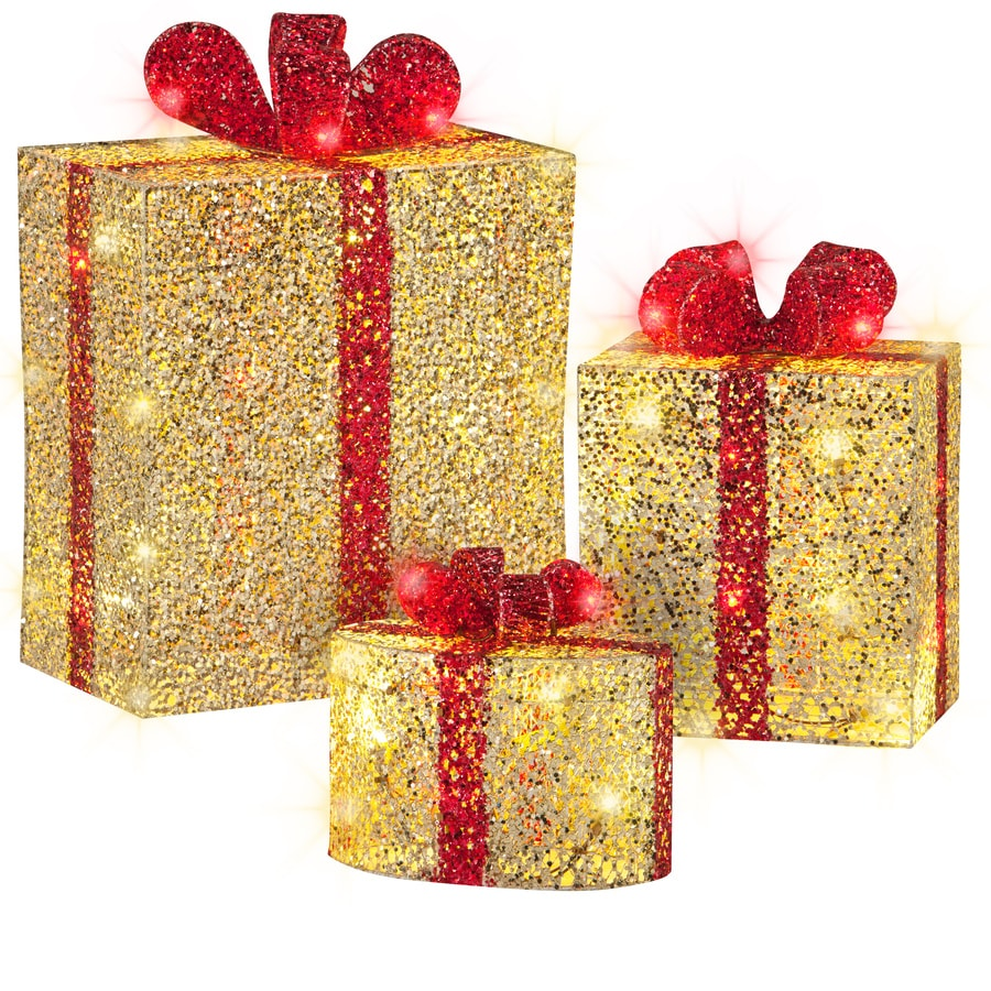 Gemmy Pre-Lit Gift Boxes with Twinkling Warm White LED Lights