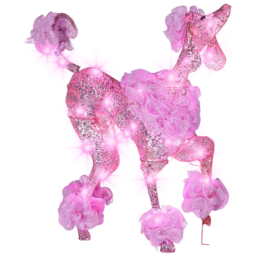 gemmy pre lit poodle with constant pink led lights - Outdoor Lighted Dog Christmas Decorations
