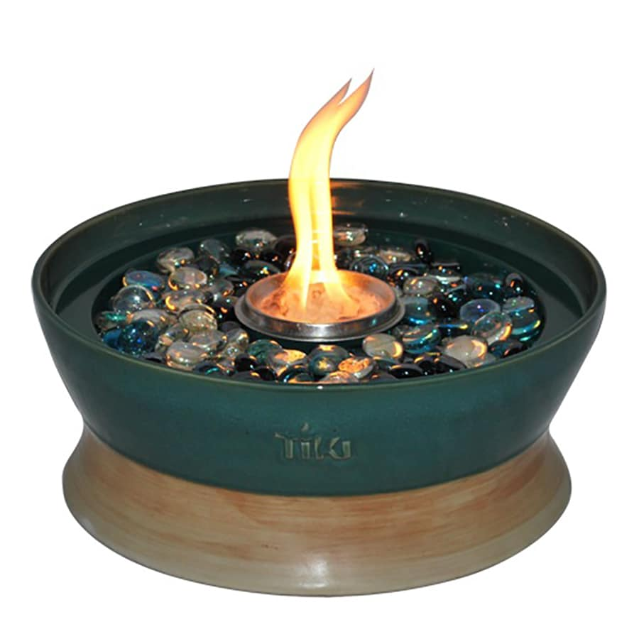 Shop TIKI Clean Burn 10-in Teal Ceramic Tabletop Torch at Lowes.com