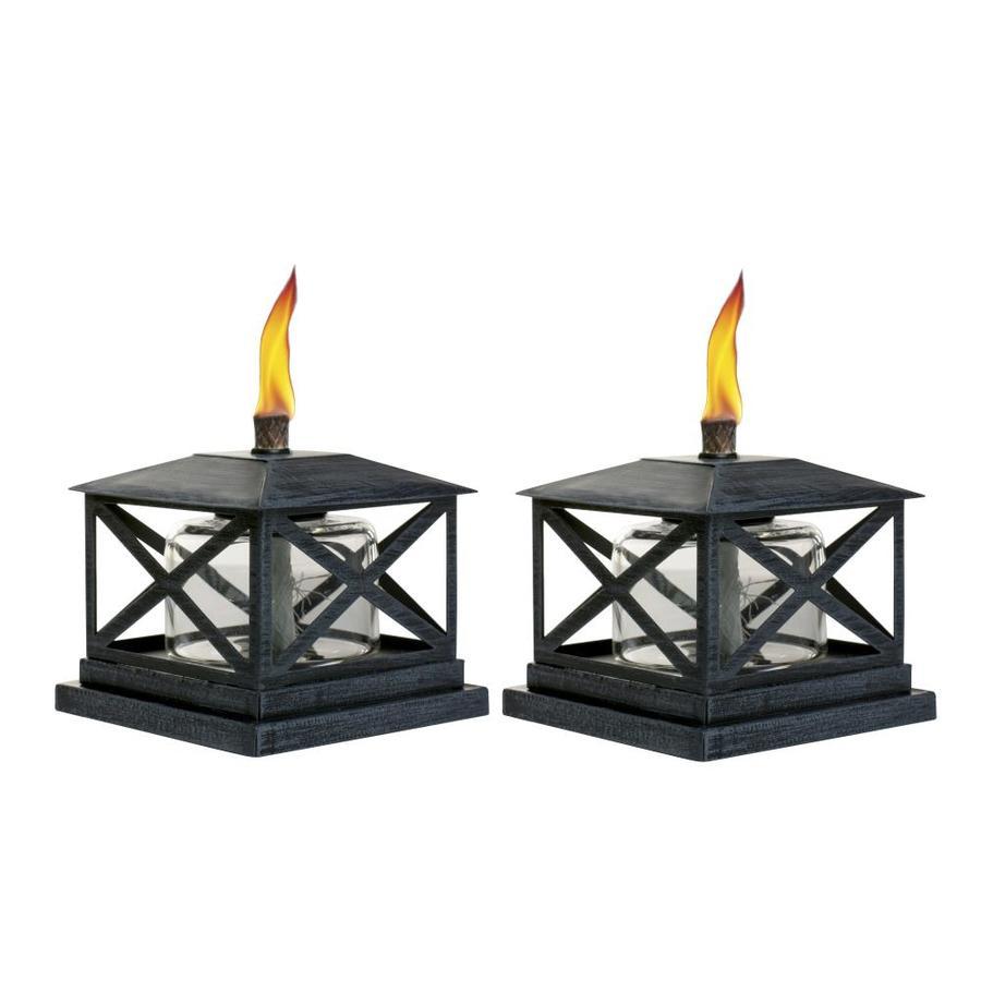 TIKI 2 Pack 5.5 In Black Steel Tabletop Torch