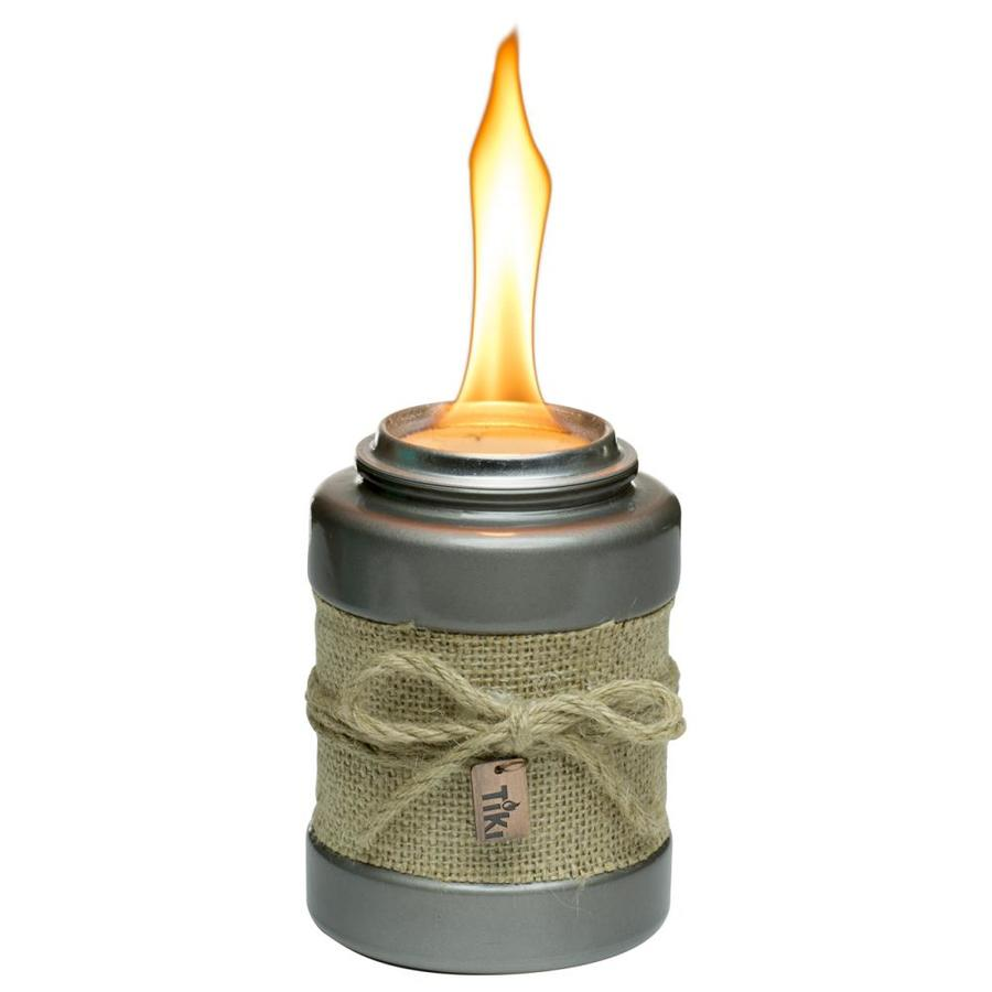 Tiki 5 In Gray Gl With Burlap Wrap Ceramic Tabletop Torch