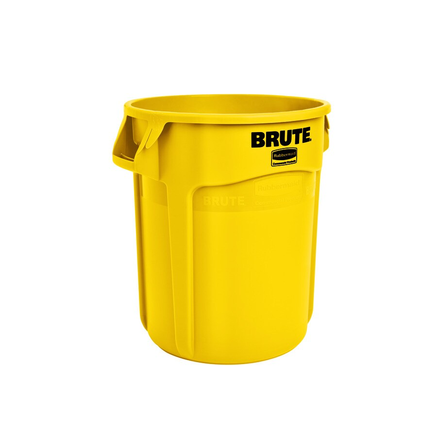 Rubbermaid Commercial Products Brute 20-Gallon Yellow Plastic Trash Can
