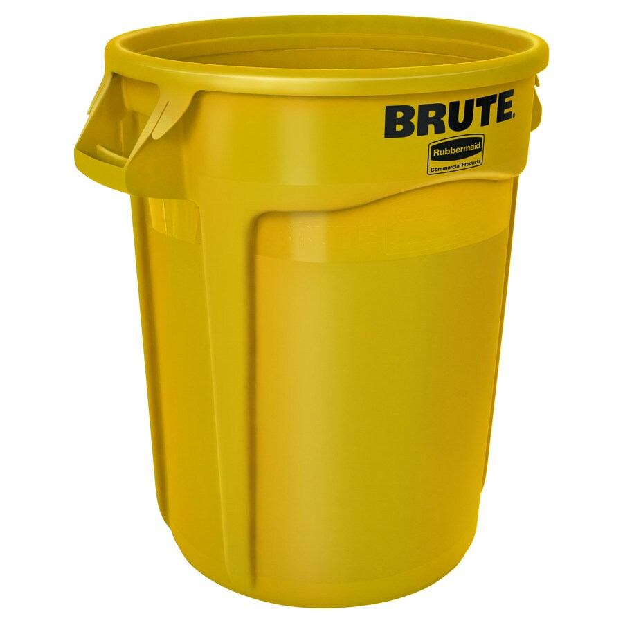 Rubbermaid Commercial Products Brute 32-Gallon Yellow Plastic   Touchless Trash Can