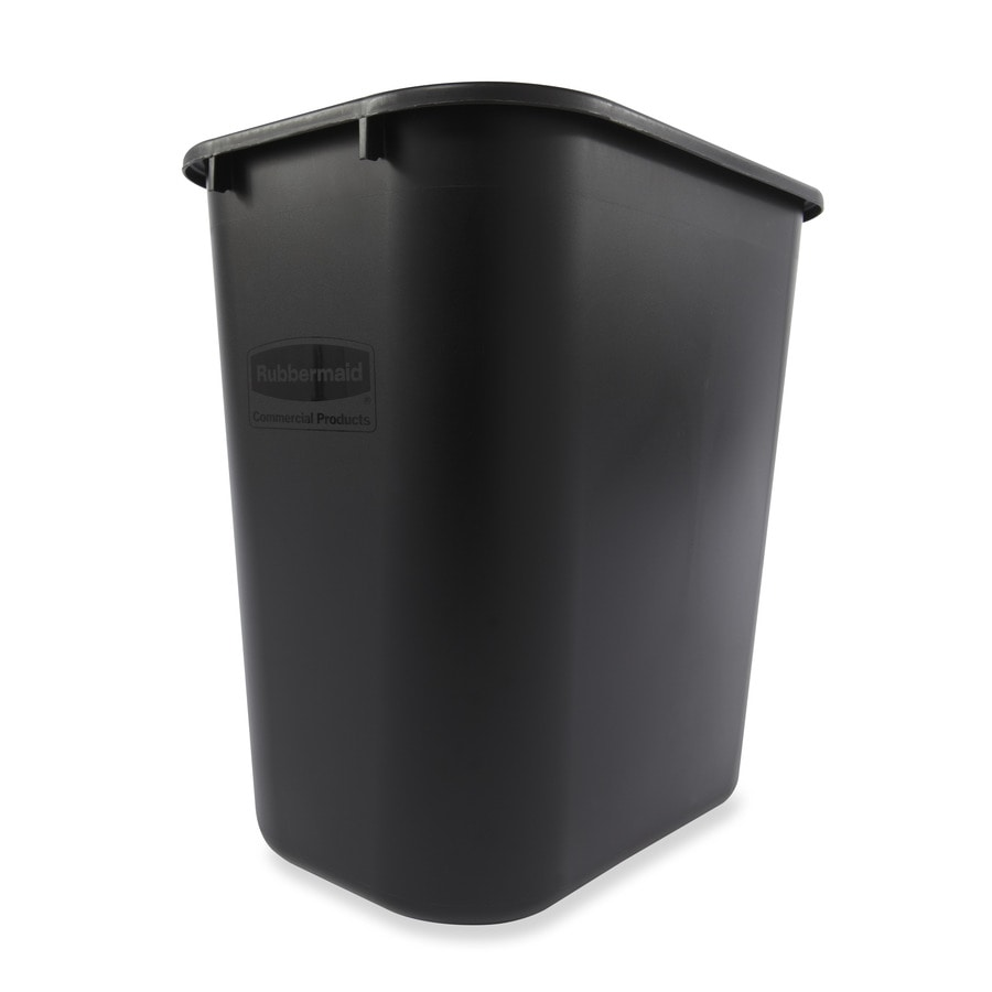 Shop rubbermaid commercial products 7 gallon black plastic for Commercial bathroom trash cans
